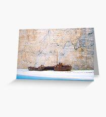 Shipwreck against Limestone Cliffs Greeting Card