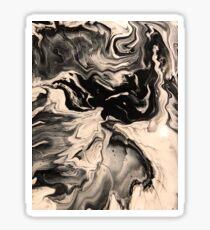 Black And White Marble Fluid Art Sticker