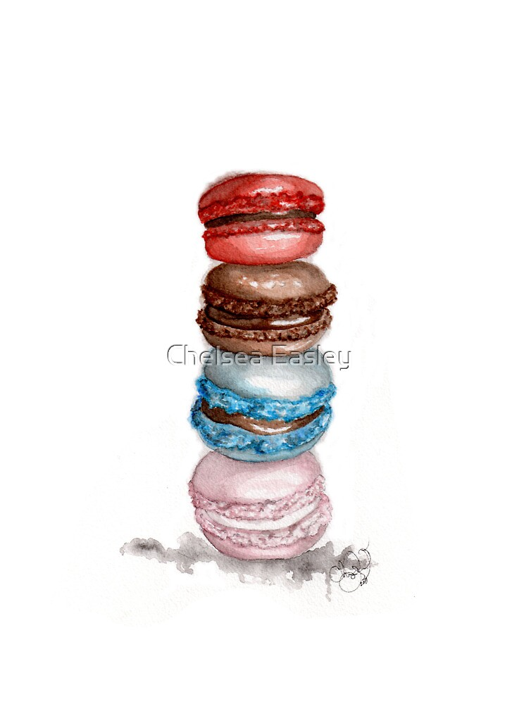 Macarons Watercolor Illustration  by Chelsea Easley