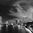 River with a View, Chao Praya River 3:2 panorama - Night in Bangkok  by vanyahaheights