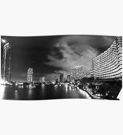 River with a View, Chao Praya River 3:2 panorama - Night in Bangkok  Poster