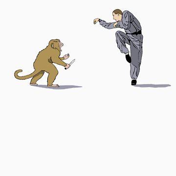 Monkey Kung Fu with Knife by mammalwear