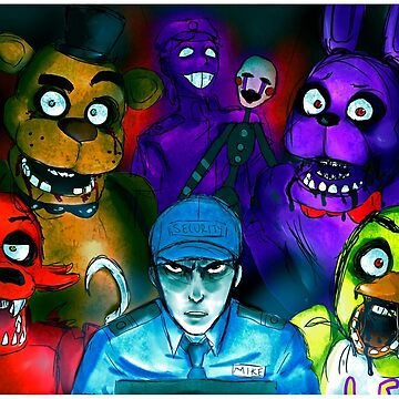 Five Nights at Freddy's with Security Guard, Purple Guy&Marionette by kayland