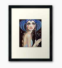 Lenore & the Three Eyed Raven, Original art, PopSurrealism Framed Print