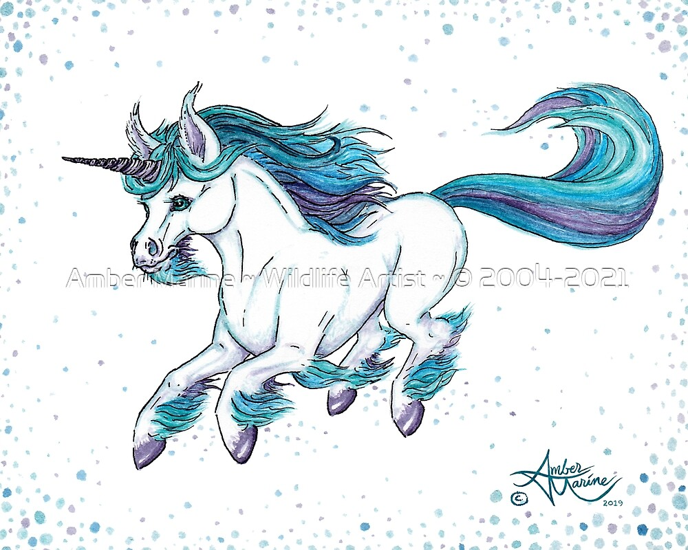 """Fluorite """"Flo"""" the Unicorn by Amber Marine ~ Watercolor & Ink  (Copyright 2019) by Amber Marine ~ Wildlife Artist ~ © 2004-2021"""
