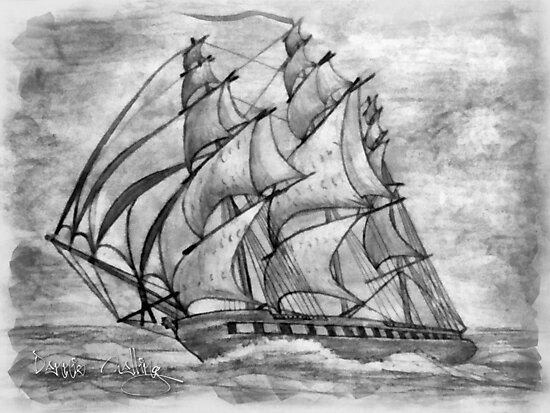 Pencil Drawing (enhanced) of a Clipper Ship based on the Cutty Sark by Dennis Melling