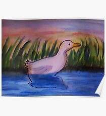 Reflected and alone. bird series, watercolor Poster