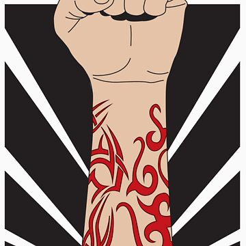 Fight the power, fist with tattoo by DanTreasure