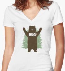 Bear Hug (Light) Women's Fitted V-Neck T-Shirt