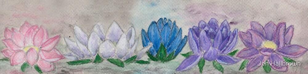 Five Lotus Flowers by Jen Hallbrown