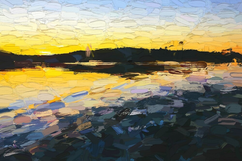Sunset on the water abstract oil painting by travelways