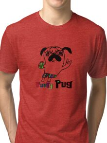 Party Pug on white Tri-blend T-Shirt