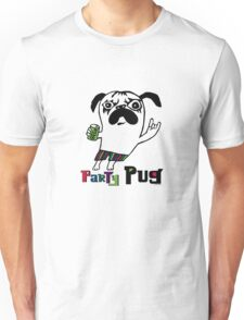 Party Pug on white T-Shirt