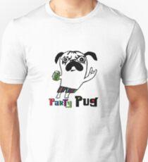 Party Pug on white Unisex T-Shirt