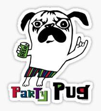 Party Pug on white Sticker