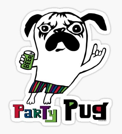 Party Pug on white Sticker