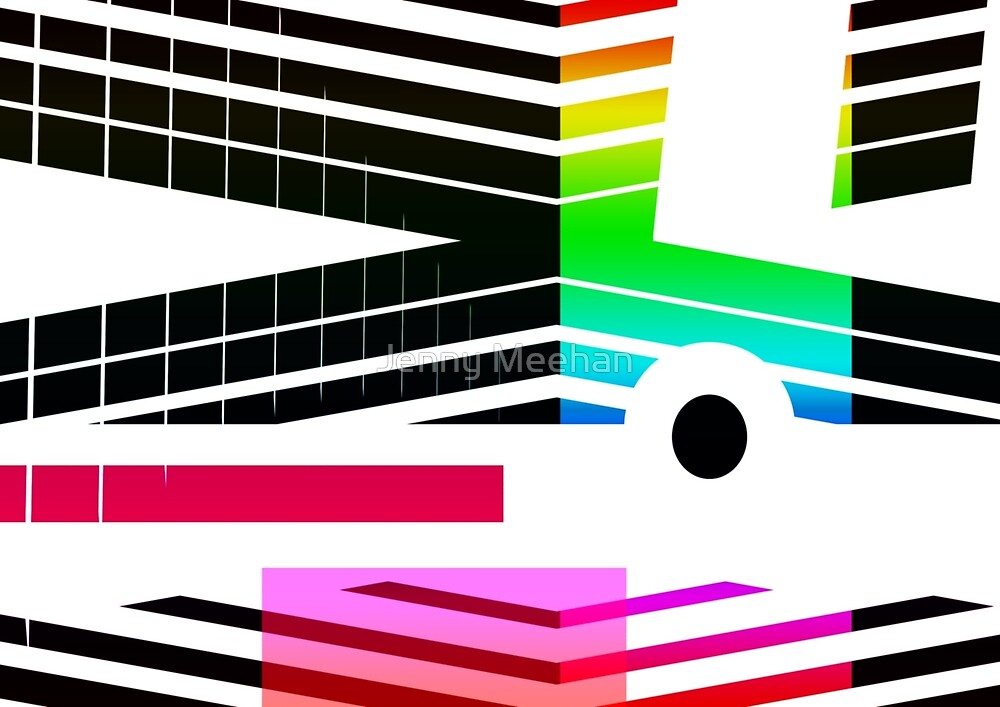 New Era - Geometric Abstract Rainbow Colours Design by Jenny Meehan by Jenny Meehan