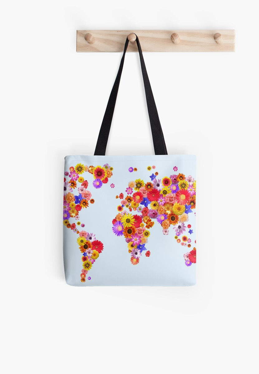 Flower world map canvas art print tote bags by michael tompsett flower world map canvas art print by michael tompsett gumiabroncs Choice Image