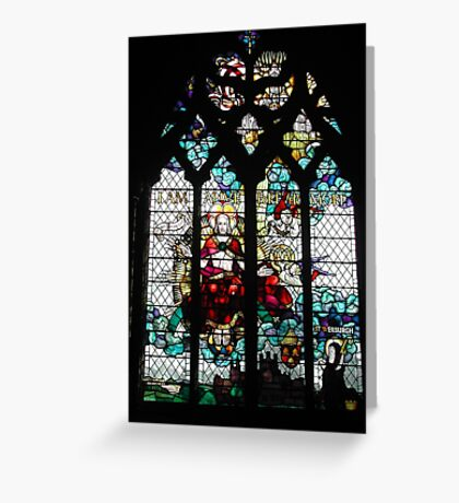 Stained Glass Window in Chester Cathedral Greeting Card