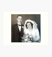 Parents wedding ~ March 1942 Art Print