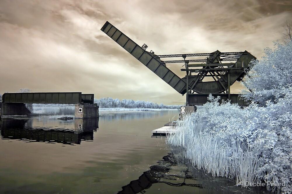 Old Train Bridge Stuck Open - Smiths Falls Ontario - Infrared by Debbie Pinard