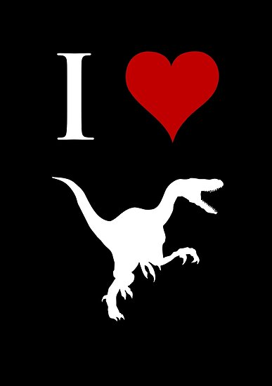I Love Dinosaurs - Velociraptor (white design) by jezkemp