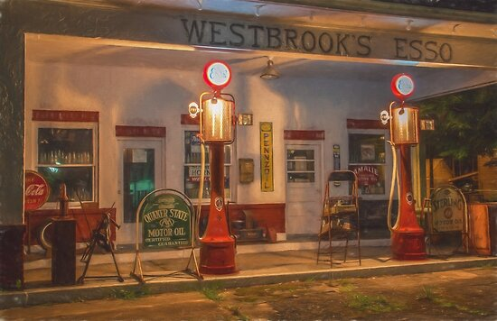 Vintage Esso Station by Shirley Radabaugh