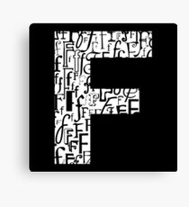 Letter F, black background Canvas Print