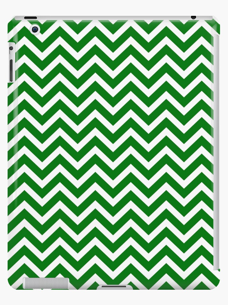 Christmas Green & White Chevron by podartist