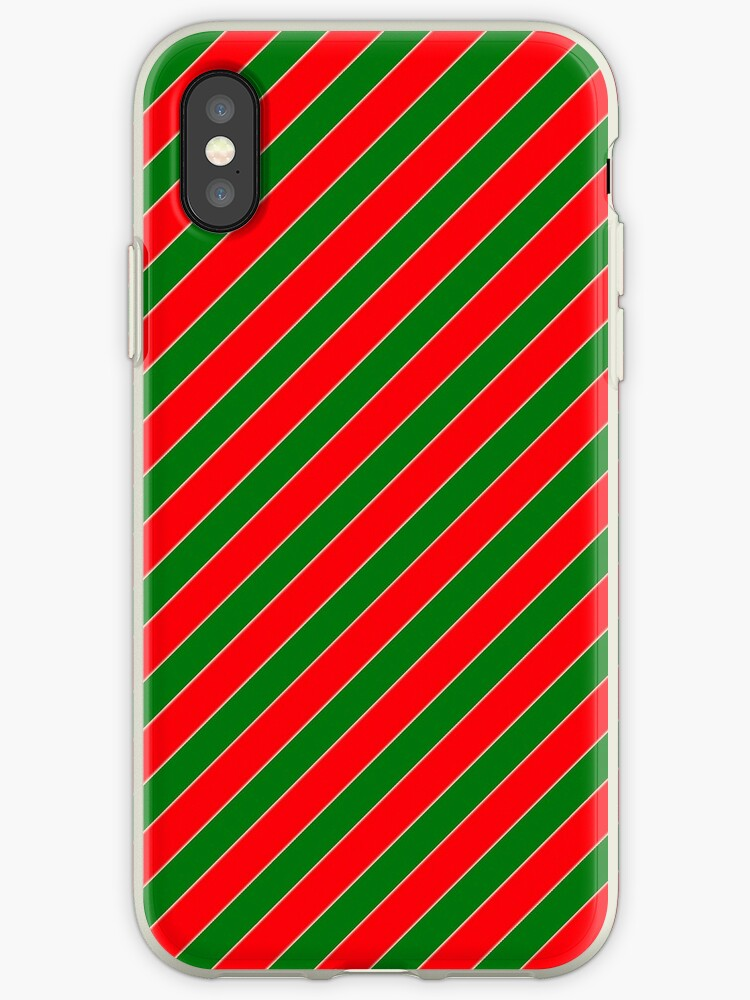 Red & Green Christmas Candy Diagonal Stripe s by podartist