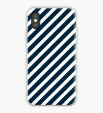 Midnight Blue & White Christmas Candy Cane Diagonal Stripe iPhone Case