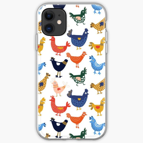 Cute + Colorful Chickens iPhone Soft Case