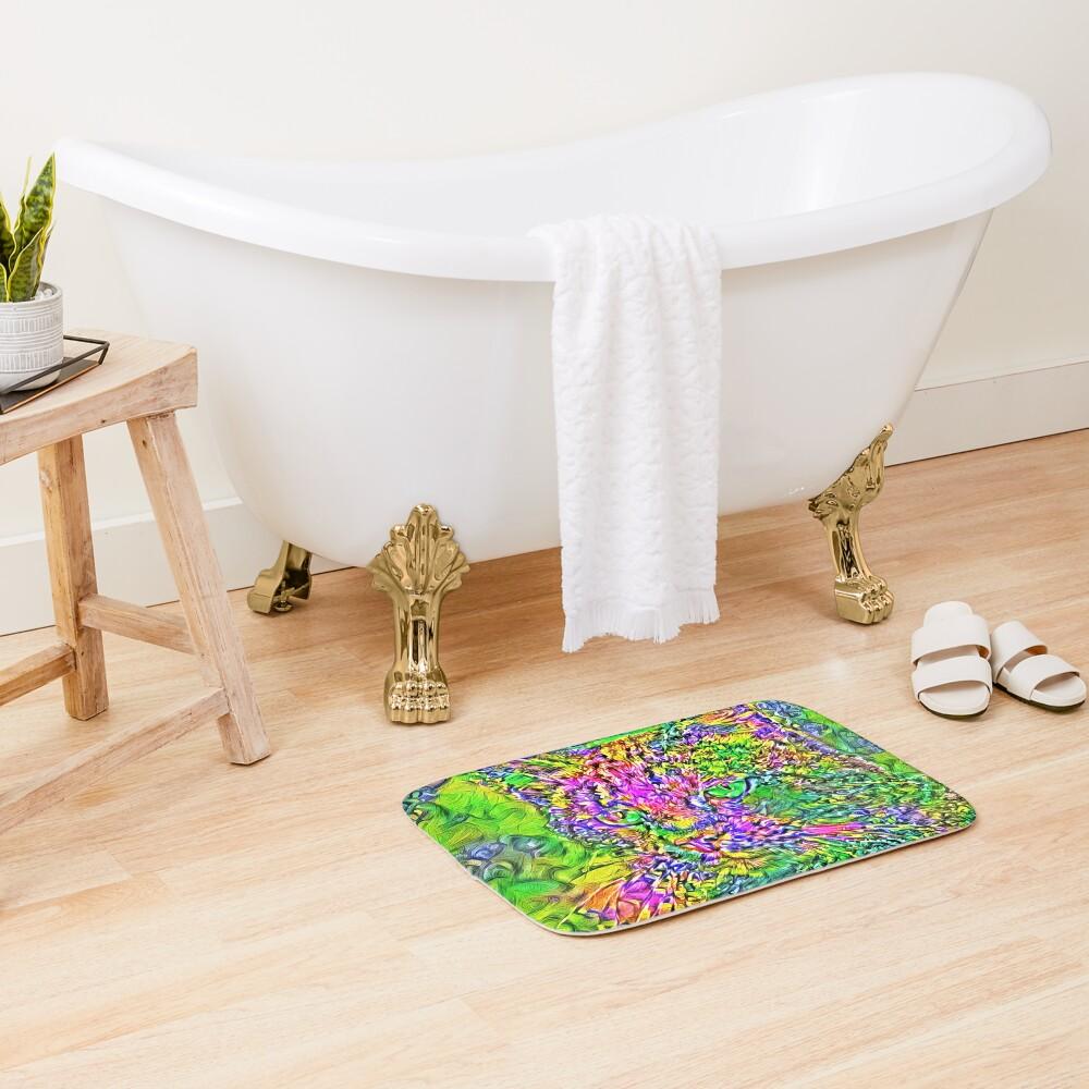 Artificial neural style Flower cat Bath Mat