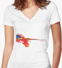 fire born free Women's Fitted V-Neck T-Shirt