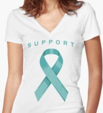 Teal Awareness Ribbon of Support Women's Fitted V-Neck T-Shirt