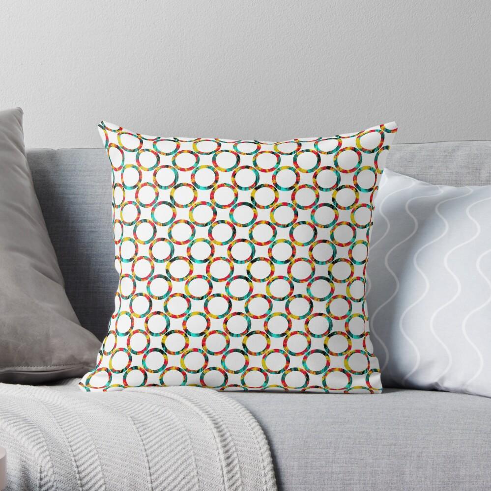 Decorative circles,multicolored Throw Pillow