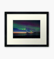 Aurora Borealis & sunset Framed Print