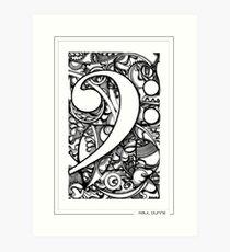 BASS CLEF DOODLE Art Print