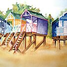 Beach huts-2 by Bev  Wells