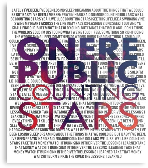 """OneRepublic- Counting Stars"" Metal Print by lyricsinbebas"