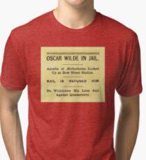 Oscar Wilde In Jail Headline Tri-blend T-Shirt