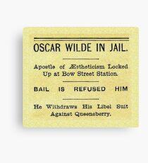 Oscar Wilde In Jail Headline Canvas Print