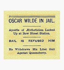 Oscar Wilde In Jail Headline Photographic Print