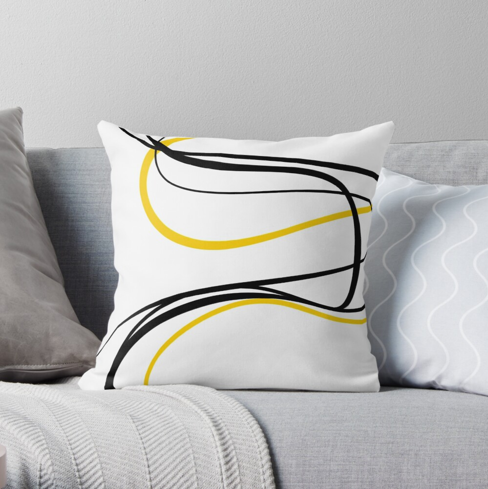 Gold & Black Strokes Throw Pillow