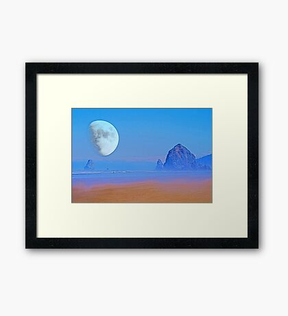 Cannon Beach Moon Framed Print