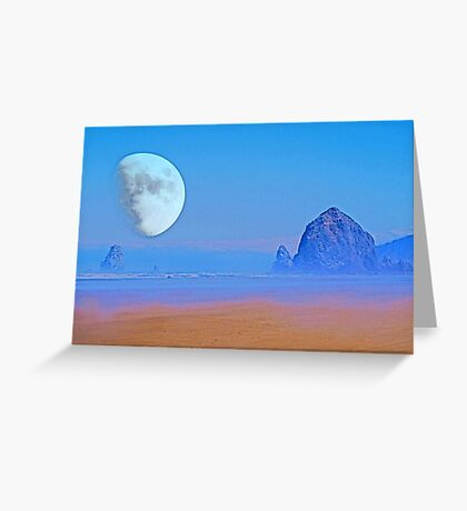 Cannon Beach Moon Greeting Card