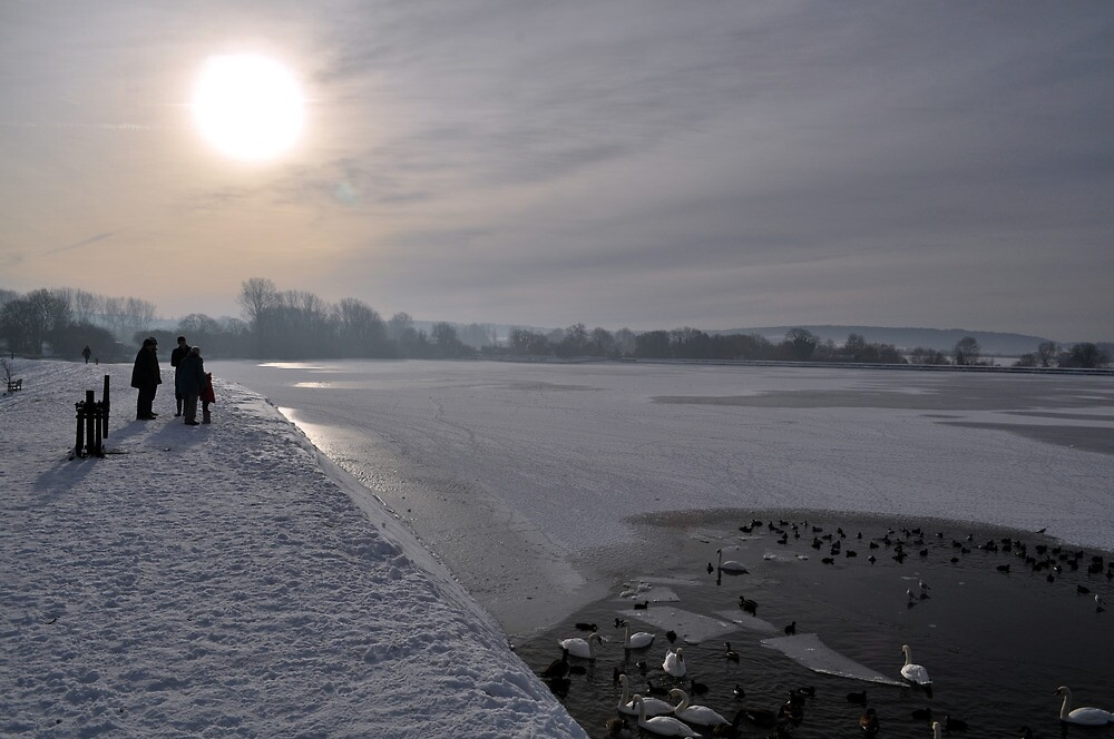 Winter Scene Frozen Lake by amandafreed