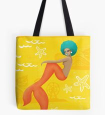 Coney Island Mermaid with Blue Hair Tote Bag