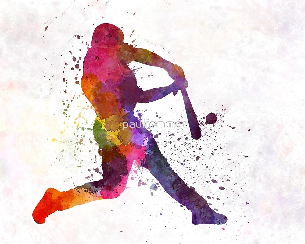 Baseball player hitting a ball by paulrommer