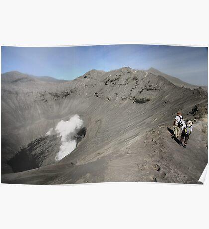 Tourists viewing the caldera of Bromo Mountain (Gunung Bromo) Poster